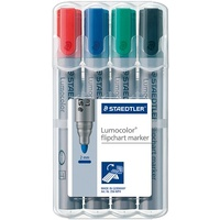 Flipchart Markers Bullet Point Assorted Wallet 4 Staedtler 356 WP4 Ideal for use on paper as ink does not bleed through
