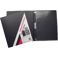 257A4 A4 refillable display book with black inserts in each page. Black Colby - each