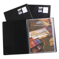 Display Book PVC A4 Marbig 24 Fixed page Black R10015BK - each