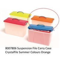 Carry Case Crystalfile Summer Colours Orange Lid Clear Base 8007806 18 litre
