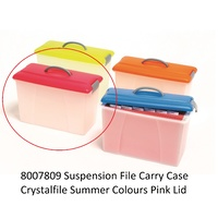 Carry Case Crystalfile Summer Colours Pink Lid Clear Base 8007809 18 litre