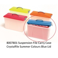 Carry Case Crystalfile Summer Colours Blue Lid Clear Base 8007801 18 litre