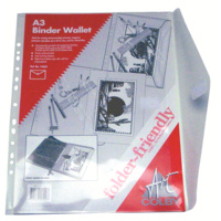 Binder Wallet A3 Document holder Clear Punched Colby 146A32Clear - each