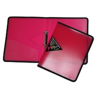 Binder Colby Pop P82A 2 Ring Pink 25mm ring Edged a4 2/25/o fabric edges