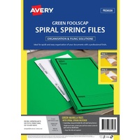 Spiral Spring File FC Avery 88546 Green Printed Black Pack 5