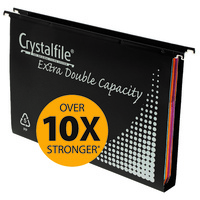 1. Suspension Files FC Crystalfile Extra Double Capacity Complete 111902 Pack 10 Black polypropylene