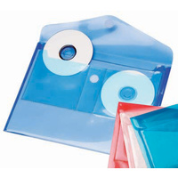 Wallet with Twin External CD/DVD Pockets A4 Colby Harlequin Storage H149 Blue Clear Teal or Red