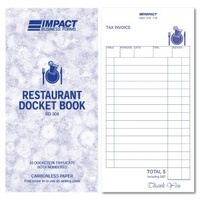 Restaurant Docket Book Triplicate 100 x 195mm Impact RD304