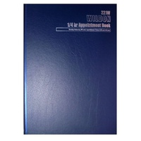 Appointment Book Wildon A4 WIL221 1/4 hour Blue - each