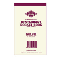 Restaurant Docket Book Triplicate Carbonless x25 CBT Zions pack 25 100x170mm