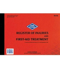 Register of Injuries and First-Aid Treatment Book NSW Zions RIFA - each