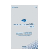 Time Pay and Wages Book Large Zions 52 - each