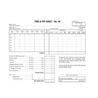 Time & Pay Sheet No 44 Zions 441 - pack 100