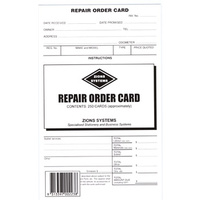 8x5 Repair Order Card Zions ROC - pack 250 Size: 125mm x 205mm White card, printed two sides.