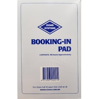 Booking In Pad - Slips Zions Size: 185mm x 120mm BKPD - per pad
