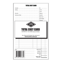8x5 Record Card Zions Total Cost Card TCC Pack 100 for electricians, plumbers, contractors, and tradies in general etc