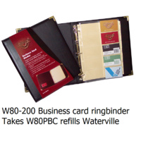 Business Card Binder A4 3 rings Black + brassed corners Waterville W80-200 takes W80PBC refills