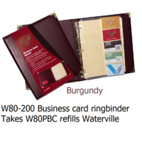 Business Card Binder A4 3 rings Burgundy + brassed corners Waterville W80-200 takes W80PBC refills