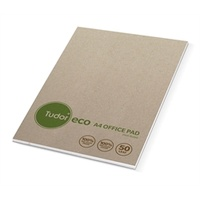 Office Pads A4 Ruled * White Eco Recycled Tudor - pack 10