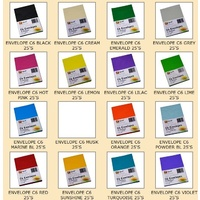 Envelopes 114x162 C6 Quill XL Multi Office CHOOSE COLOUR - pack 25