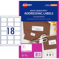 InkJet Labels 18 per sheet J8161 pack 25 936031 White Permanent Avery