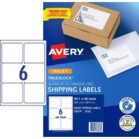 InkJet Labels . 6 per sheet J8166 White Permanent Avery 936038 - box 50