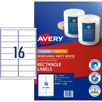 Laser Labels 16 per sheet WHITE 99.1x34mm Removable L7162REV Avery 959048 - box 25