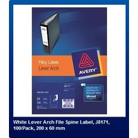Labels J8171 Inkjet Lever Arch Spine label 4 per sheet 200x60mm Avery 936051 - box 25