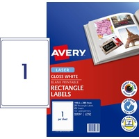 Laser Labels - 1 per sheet L7767 White GLOSSY Avery 959767 - pack 25