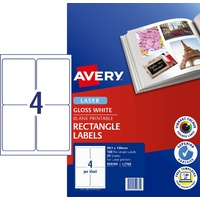 Laser Labels . 4 per sheet L7769 White GLOSSY Avery 959769 - box 25