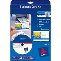 Business Card Starter Kit Smooth Edge 220gsm 85 x 54mm C32040 Avery 936227 100 Cards -