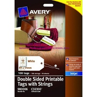 Avery Label Double Sided Printable Tags With String 10 Per Sheet 980006 - pack 10 SHEETS