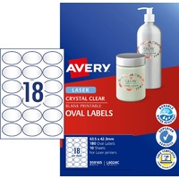 Label Avery Laser L6024C Clear Oval 18 Per Sheet 959165 Pack 10