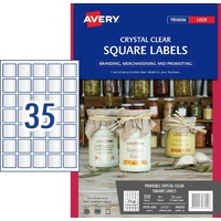 Crystal Clear Square Product Labels L7125 350 label Pack 35x35mm - pack 10 sheets 35 per sheet