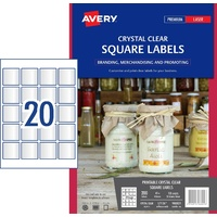 Label Avery Crystal Clear Square 45x45mm L7126 980021 Pack 10 sheets, 20 labels per pack and 200 labels pack