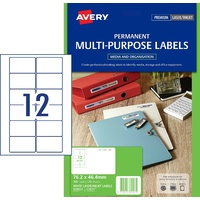 Labels Laser Video Face Label 12 per sheet L7671 permanent Avery 959023 - box 25