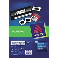 Labels Laser Video Face Labels 12 sheet L7671REV Removable Avery 959044 - pack 25