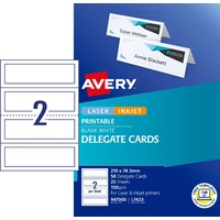 Delegate Cards Avery L7423 - 2 per sheet 25 sheets so 50 delegate cards 947000 - box 25