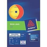 CD DVD [b] Label Laser GLOSSY Colour 960100 L7760 Avery - pack 25 sheets