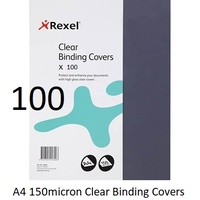 Binding Covers [1] Clear A4 150 Micron Rexel - box 100