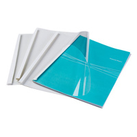 Thermal Binding Covers A4 15mm (50) White Gloss Back With Clear Front Pack 50 Fellowes 5390001