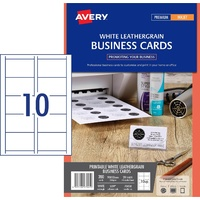 Business Cards Leather Grain Celcast/Avery IJ39 200gsm 70450 Pack 20 card sheets per pack 10 cards per page 200 cards per pack