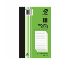 Book Plain Ruled Carbon Record Book 8x5 Triplicate 705 Carbonless 07354 - each