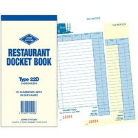 Restaurant Docket Book Zions EL Type Carbonless Duplicate 22D - each