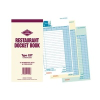 Restaurant Docket Book Triplicate Carbonless EL Type 22T Zions