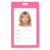 ID Card Holder Plastic Marbig Portrait Pink 9901009 Pack 6