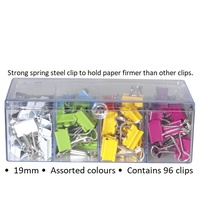 Foldback Clips 19mm Assorted Colours 0362460 Celco Box 96