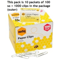Clip - Paper Clips Metal 33mm Round Type Large - box 1000