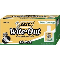 Correction Fluid Bic white EXTRA COVER box 12 Wite Out Plus 50624