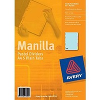 Divider A4 Avery Pastel 5 Tab 97005